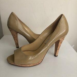 Saks Fifth Avenue Nude Open Toe Heels 9.5 B